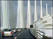 Cars on Millau bridge (AP)