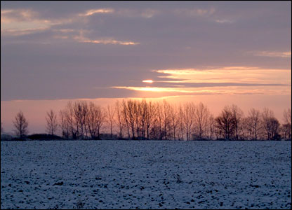 Sunrise in Lincolnshire on Wednesday morning