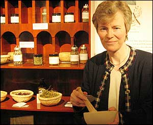 Caroline Roberts and display of herbs of the kind used by Mary Seacole