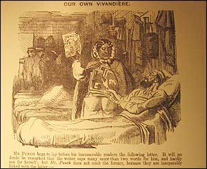 Punch magazine cartoon of Mary Seacole in the Crimea, 1857