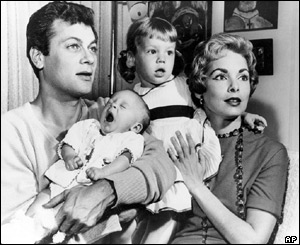 Tony Curtis, and Janet Leigh with children Kelly Curtis and Jamie Lee Curtis.