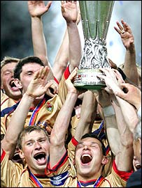CSKA Moscow celebrate their Uefa Cup win