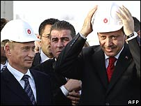 Vladimir Putin (left) with Turkish Prime Minister Recep Tayyip Erdogan