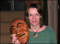 Melody Stokes with a mask