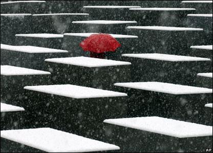 Snow at Berlin's Holocaust Memorial