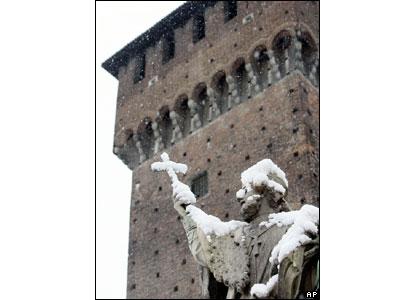 Snow on a statue at Sforza Castle, Milan