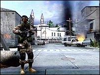 Videojuego muestra a soldado en una calle