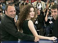 Iraqi Kurd director Hiner Saleem and cast members Belcim Bigin and Nazim Kirik