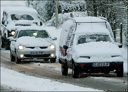 Heavy snowfall on roads in Kent, south-east England