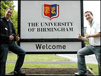 Students John Gorski (left) and Matt Munro with the old image