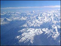 The Andes mountains from the air