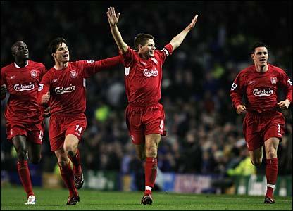 Liverpool's Steven Gerarrd celebrates his goal