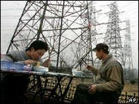 A roadside foodstall next to power lines in Shandong province, China
