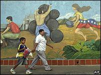 Mural sobre la industria petrolera en Venezuela