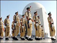 Soldiers march past the Jinnah Mausoleum, Karachi, 2005