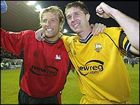 Preston keeper Carlo Nash (left) and captain Chris Lucketti celebrate at Derby