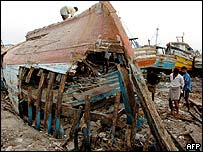 Fishing boat destroyed by tsunami in Tamil Nadu, India