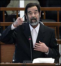 Saddam Hussein on trial in Baghdad, Iraq