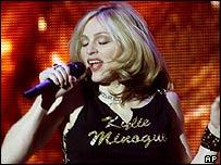 Madonna wearing a Kylie T-shirt