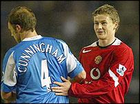Ole Gunnar Solskjaer shakes hands with Birmingham's Keny Cunningham