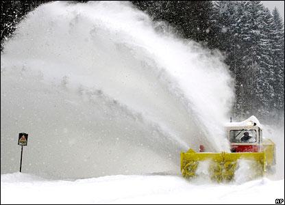 A snow plough in the Czech Republic