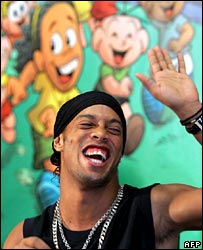 Brazilian soccer star Ronaldinho at the launch of a comic strip named after him