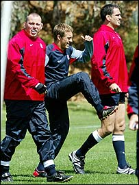 England hooker Steve Thompson (left) with Jonny Wilkinson and Martin Johnson