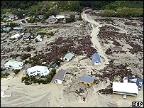 An aerial view of the coastal town of Matata, population 650, shows the widespread devastation caused by floods and landslides in the Bay of Plenty region of New Zealand's North Island, 20 May 2005.