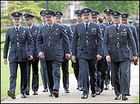 Members of the RAF arrive at the service