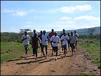 Kenyan runners in the countryside outside Nairobi