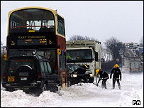 Bus stranded on A1079