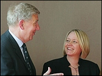 ASPS president Chief Superintendent Tom Buchan (left) talks to Justice Minister Cathy Jamieson