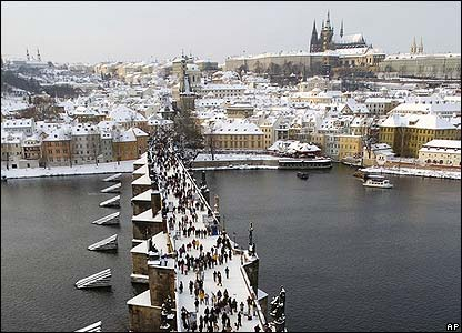 Prague's medieval Charles Bridge, in the Czech Republic