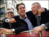 Michael Vaughan, Kevin Pietersen and Andrew Flintoff