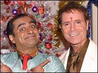 Sanjeev Bhaskar with Sir Cliff Richard