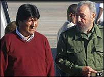 Evo Morales and Fidel Castro at Havana airport