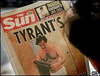 The Sun's front page showing Saddam Hussein in his underpants
