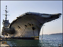 The French decommissioned nuclear-powered aircraft carrier, the Clemenceau