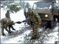 Chile's army rescue operation in the Andes