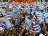 Castro supporters in Havana