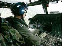 Helicopter flight over Washington