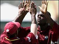 Daren Powell takes a wicket