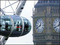 London Eye pod with Big Ben in the background