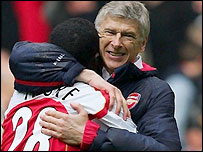 Arsenal manager Arsene Wenger (right) celebrates winning the FA Cup
