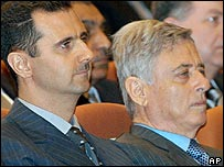 President Assad (left) with Vice-President Khaddam last June