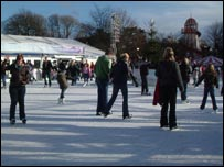 Skaters at Cardiff's Winter Wonderland on New Year's Eve