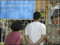 Onlookers and police outside the Cambodian Center for Human Rights in Phnom Penh