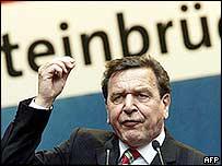 Chancellor Gerhard Schroeder addresses a rally in North Rhine-Westphalia