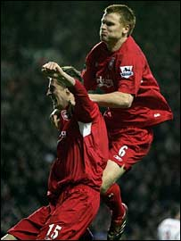 Liverpool's Peter Crouch and John Arne Riise
