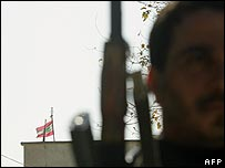Soldier guarding Lebanese embassy in Iraq